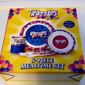 Razzles Plate Bowl Cup Fork Spoon 5 Piece Set Kids